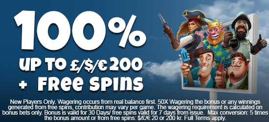 100% Welcome Deposit Bonus up to £/$/€200 + Free spins