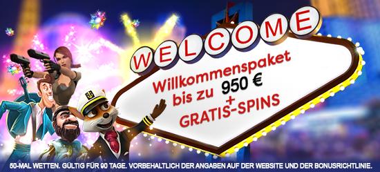 Willkommenspaket von bis zu €950 + Gratis Spins