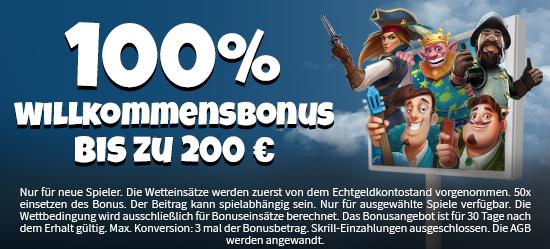 100% bis zu 200 € Willkommens