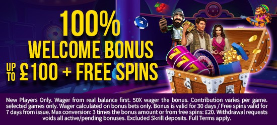 100% up to £100 + Free Spins