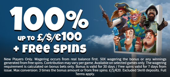 Welcome - 100% up to 100 + 20 Free Spins on Shaman's Dream (UKwelcome2)