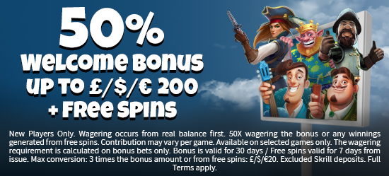 50% up to £200 + Free Spins