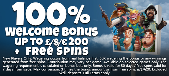 Welcome Bonus 100% up to 200 + Free Spins