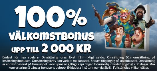 100% välkomstbonus upp till 2 000 kr