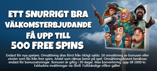 ETT SNURRIGT BRA VÄLKOMSTERBJUDANDE - upp till 500 FREE SPINS