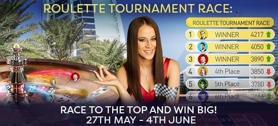 Roulette Tournament Race - The 3 top-performing players go through the Live Final…