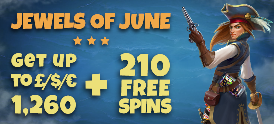 JEWELS OF JUNE - 50 FREE SPINS + 35% BONUS + 20 FREE SPINS